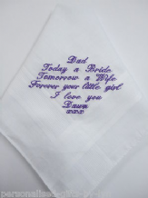 Mens Personalised Handkerchief - with your choice of message and thread colour
